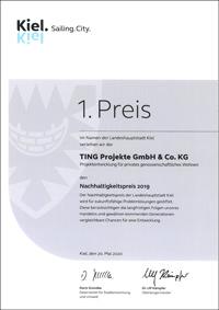 TING Projekte Urkunde Nachhaltigkeitspreis